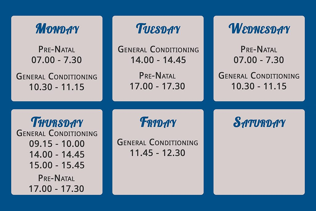 Weekly class schedule planner for Fish and Field Bionikinetics at Off Nicol in Bryanston, Johannesburg including prenatal aqua therapy and genreal conditioning classes