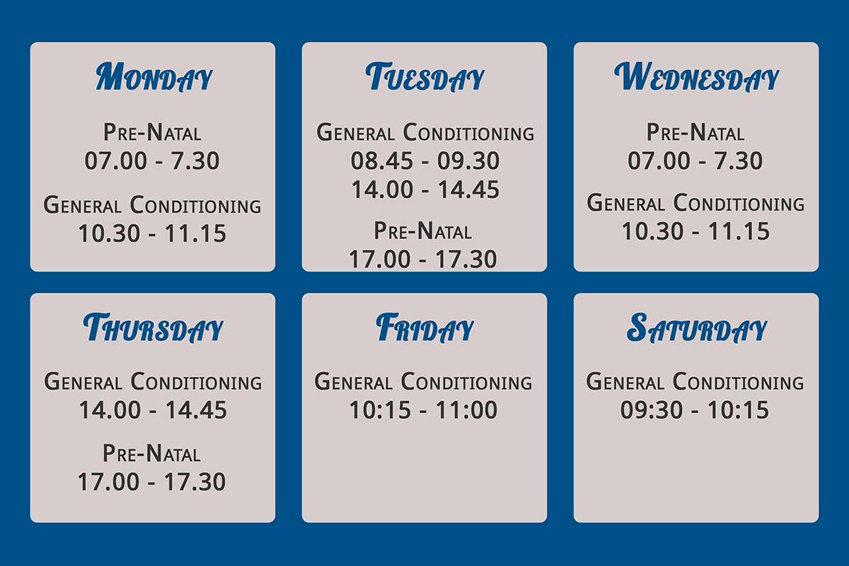 Weekly class planner for fish & Field bionikinetics at Off Nicol Johannesburg