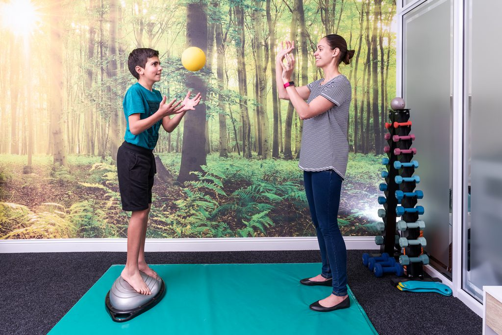 Hand-Eye coordination training like throwing a ball is an important component of rehabilitation offered at Fish & Field Biokineticists in Bryanston