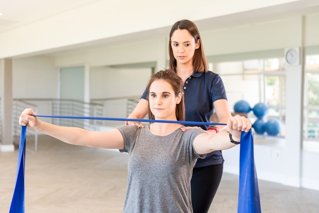 Resistance training like that using a band or tube is an important component of rehabilitation as illustrated by Fish & Field Biokineticists