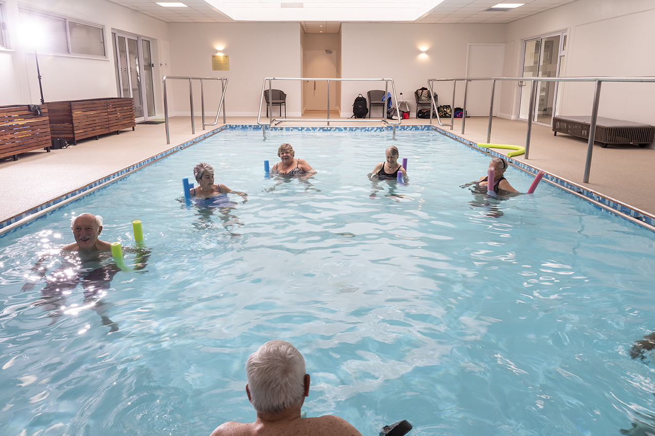 Aqua Therapy group class for the elderly for fall prevention at Fish and Field Biokineticists in Bryanston, Johannesburg.